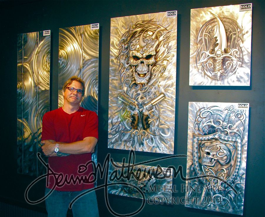 "Hawaii Artist Dennis Mathewson with his commission ""Metal Mania"""