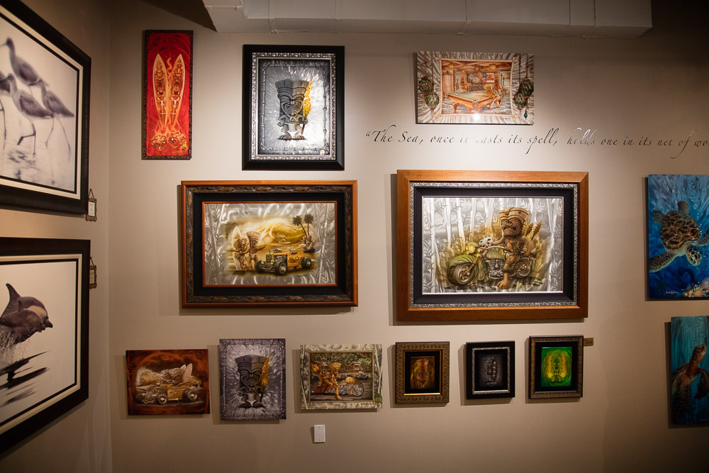 The metal artworks of Dennis Mathewson in the Poipu, Kauai, location of Latitudes Fine Art Gallery.
